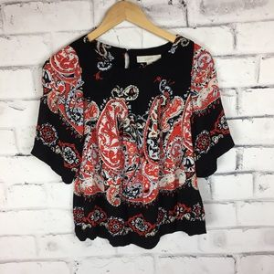 Loft black and red print top